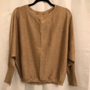 INC gold sweater with bat sleeves
